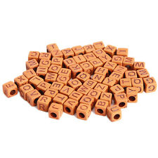 500pcs Hot Imitation Wood Mixed Letters Carved Square Cube Plastic Spacer Bead C