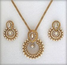 Indian Bollywood Jewellery Pearls Gold Plated Wedding Party Pendant Necklace Set