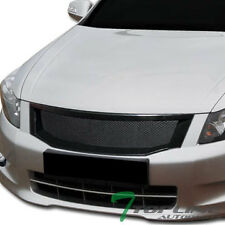 BLACK ALUMINUM MESH FRONT HOOD BUMPER GRILL GRILLE COVER ABS 08-10 ACCORD 4D 4DR