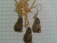 "TIBETAN ANTIQUE GOLD PLT SET""CATS"" EARRINGS + PENDANT GOLD PLT 16""or18""NECKLACE"