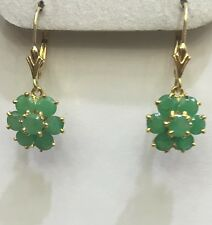 14k Solid Yellow Gold Dangle Leverback Earrings 4.20CT Natural Emerald Round