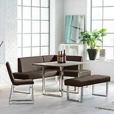 Corner Dining Set Breakfast Nook Leather Bench Chairs Table Kitchen Furniture