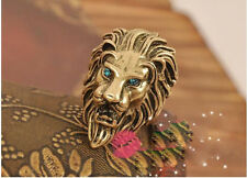 R1291 Hot New Vintage Europestyle Green Crystal Eye Intrepid Lion Rings