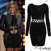 Womens Sexy Black LBD Bodycon Long Sleeve Cut Out Topshop Celebrity Short Dress
