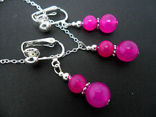 A  PINK JADE  NECKLACE AND   CLIP ON EARRING SET. NEW.