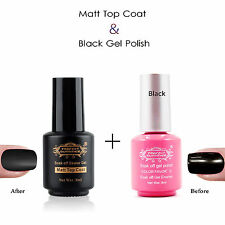 2pcs Nail Art Soak Off Matt Top Coat Finisher UV Gel  Black Gel Nail Polish Set