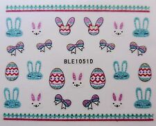 3D Nail Art Bling Stickers Easter Bunny Bows Easter Eggs Lace Glitter Decal 1051