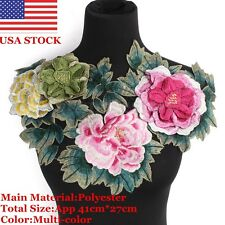 Flower Floral Collar Sew On Lace Patches Applique Badge Embroidery Bust Dress US