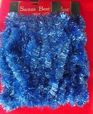 Santa's Best blue 36 ft Christmas tinsel garland 2 set NEW on cards