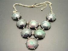 $22 Nordstrom Faux Black Opal Opalescent Faceted Cabochon Necklace Goldtone 20""