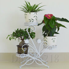3 TIER White Floor-Standing Pot Plant Stand Wrought Iron Balcony Flower Planter