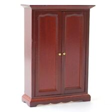 Mahogany Two Door Wardrobe, Dolls House Miniature Bedroom Furnitur3 1:12th Scale