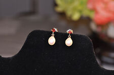 QVC Honora White Pearl and Garnet Dangle Earrings Sterling Silver Signed H