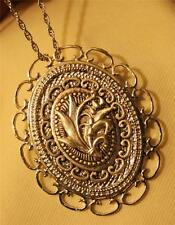Lovely Curly Scallop Rim Lily of The Valley Flowers Silvertone Pendant Necklace