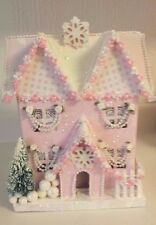 SHABBY CHIC CHRISTMAS HOUSE CARDBOARD  PAINTED PINK GLITTER HOUSE  LARGE