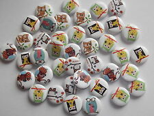 40 x 15MM OWL 2 HOLE WOODEN, SEWING BUTTONS, DIFF. DESIGNS