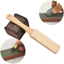 1 Pc Wood Wooden Handle Leather Sharpening Strop Handmade For Razors Knives @