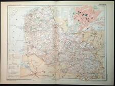 1899 impression antique couleur carte du Pas-de-Calais Arras France carte française