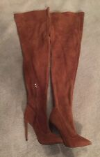 Tony Bianco Over Knee High Genuine Carmel Suede Leather Boots Heels size 8