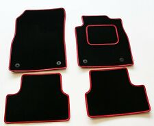 CHEVROLET AVEO 2012 ONWARDS TAILORED BLACK CAR MATS WITH RED LEATHER TRIM