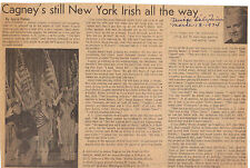 James Cagney Article 3/18/1974 Chicago Daily Times By Joyce Haber - Hollywood