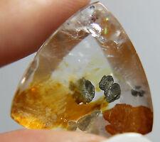 Rare Pyrite in quartz,25.40ct 22mm Brazil,Iron oxide(orange,red)