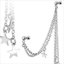"""16g 1/4"""" Dangle Multi Star Barbell Earring Cartilage Tragus Helix Chain Link CZ"""