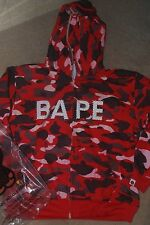 BRAND NEW A BATHING APE BAPE RED CAMO FULL ZIP UP HOODY SIZE MEDIUM