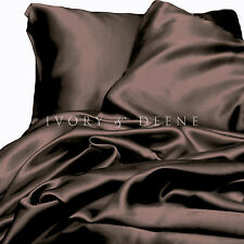 CHOCOLATE BROWN Satin Sheet Set QUEEN Size Luxury Silk Feel Bedding Linen NEW