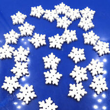 50pcs Mini Snowflake Button White Wooden Winter Christmas Xmas Decor Buttons