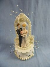 VINTAGE BRIDE and GROOM WEDDING CAKE TOPPER with PEARLS!