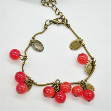 Hot Vintage Copper Sweet Red Cherry Alloy Strand Chain Bracelets For Women Gifts