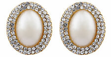 CLIP ON gold plated PEARL & CRYSTAL stud non pierced EARRINGS - Bertha G
