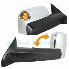 Harley-Chrome Pair Tow Mirror~Power+Heated+LED SIGNAL~2012 12 Ram 1500 2500 3500