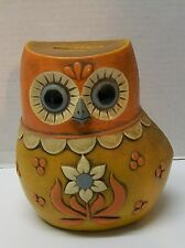 Owl Bank 1968 Orange Yellow with Flowers Pride Creations Vintage
