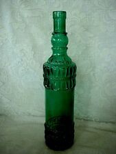 Collectible Tall Teal/Dk.Green Pressed Glass Bottle- Made in Spain