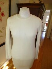 "Theory ""Kia"" ""silk cash""  cashmere crew ribbed sweater in ivoire sz L NWT $195"