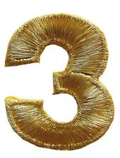 "NUMBERS-2""H Gold Number ""3"" Iron On Embroidery Appliqué Patch"
