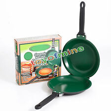Pan Flip Pancake maker Ceramic Green NonStick Cookware Kitchen Supplies