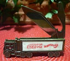 Coca Cola Truck Knife Bottle Opener Mother of Pearl 2 Blades Brass Soda Coke