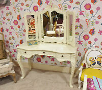 French Dressing Table & Mirror White Shabby Chic Antique Style Bedroom Vintage