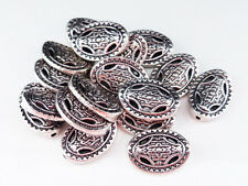 20 x Tibetan Style Oval Spacer Beads Antique Silver 13mm LF NF, Metal Beads