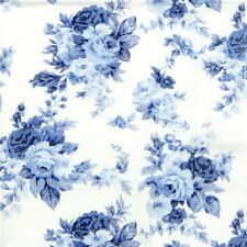 20 Pcs Luxury Table Paper Napkins for Party, Decoupage Decopatch Blue Roses