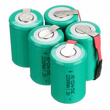 Popular 5Pc NiCd 4/5 SubC Sub C 1.2V 2200mAh Rechargeable Battery with Tab Green