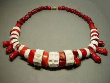 ANTIQUE ETHNIC MEDITERRANEAN CORAL & FOSSIL BONE BEADED NECKLACE.