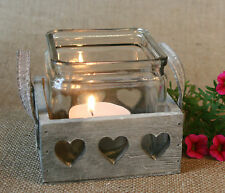Rustic Wood Glass T Light Candle Lantern Holder Plant Pot Window Cill Herb Heart