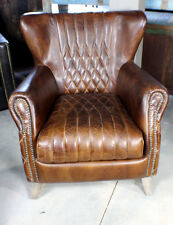 "36"" Wide club arm modern chair vintage dark brown cigar soft Brazilian leather"