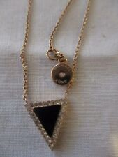 "MICHAEL KORS Rose Gold 17"" Chain & Charm with a Triangle With Crystals & Bk Onyx"