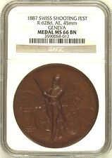 Swiss 1887 Bronze Medal Shooting Fest Geneva R-628d Switzerland NGC MS66