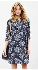 NWT ~ GAP Maternity Women's Floral Jacquard Belted Denim Shirt Dress  ~  Medium